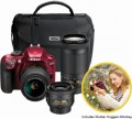 Nikon - D3400 DSLR Camera with 18-55mm, 70-300mm and 35mm Lenses Parent's Kit - Red